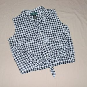 Ralph Lauren Petites Black Checked Cropped Top